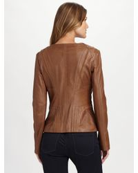 Elie Tahari | Black Leather Phoebe Jacket | Lyst