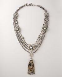 Oscar de la Renta - Gray Crystal & Pewter Tassel Necklace - Lyst