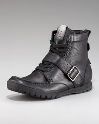 True Religion | Black Ricky Leather Hi-top Sneaker for Men | Lyst
