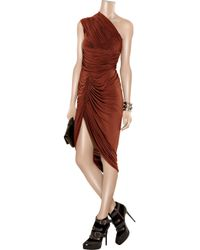 Alexander Wang - Red One-shoulder Ruched Jersey Dress - Lyst