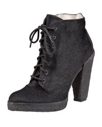 Belle By Sigerson Morrison | Black Calf-hair Lace-up Ankle Boot | Lyst