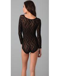 Hanky Panky - Black Ariel Long Sleeve Lace Bodysuit - Lyst