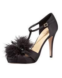 kate spade new york | Black Gambol Satin and Feather Tstrap Sandals | Lyst