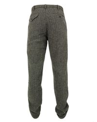 Monitaly | Gray Flat Front Grey Harris Tweed Trousers for Men | Lyst