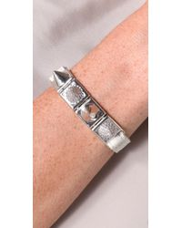 Noir Jewelry - White Studded Leather Bracelet - Lyst