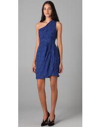 Shoshanna - Blue Floral One Shoulder Dress - Lyst