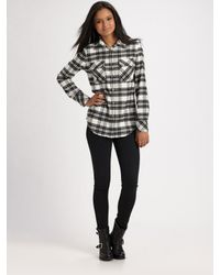 Twisted Heart - Black Crystal Plaid Shirt - Lyst