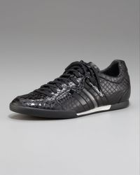 Y-3 | Black Sala Croc-embossed Sneaker for Men | Lyst