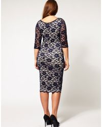 ASOS Collection - Blue Asos Curve Exclusive Midi Dress in Lace - Lyst