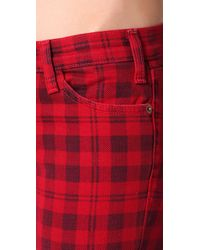 Current/Elliott - Red The Printed Plaid Stiletto Jeans - Lyst