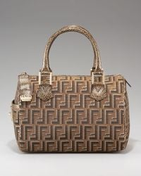Fendi | Brown Zucca Canvas Boston Bag, Medium | Lyst