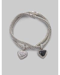 John Hardy - Metallic Black Sapphire & Sterling Silver Small Heart Charm Bracelet - Lyst