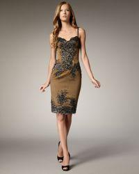 Julian Joyce By Mandalay | Metallic Beaded Lace & Satin Dress | Lyst