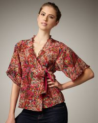 Nanette Lepore | Multicolor Aroma Printed Wrap Top | Lyst