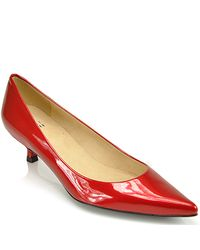 Stuart Weitzman | Brown Poco - Red Patent Tapered Pump | Lyst