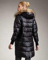 Theory | Black Fur-trim Puffer Coat | Lyst