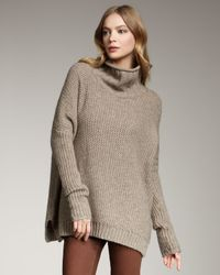 Vince - Gray Honeycomb Turtleneck Sweater, Rock - Lyst