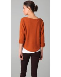 Vince | Brown Boat Neck Crop Sweater | Lyst