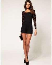 ASOS Collection | Black Asos Ponte Playsuit in Spot Mesh | Lyst