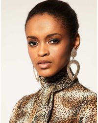 ASOS Collection - Metallic Limited Edition Triple Hammered Hoop Earrings - Lyst