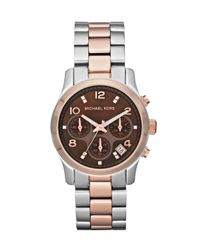 Michael Kors - Metallic Mid-size Runway Watch, Stainless Steel - Lyst