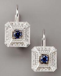 Penny Preville - Metallic Diamond & Sapphire Square Drop Earrings - Lyst