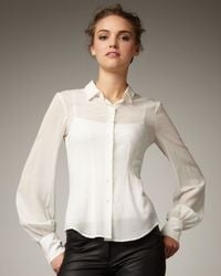 Theory | White Georgette Blouse | Lyst