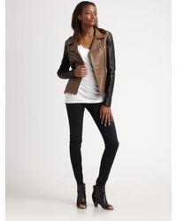VEDA | Black Two-tone Moto Leather Jacket | Lyst