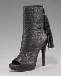 Vera Wang Lavender   Black Peep-toe Ankle Boot   Lyst