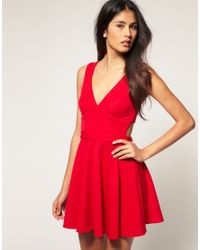 ASOS Collection | Red Asos I Skater Dress with Open Back | Lyst