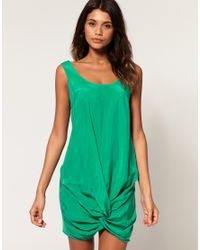 ASOS Collection | Green Asos Mini Dress with Cupro Twist Front | Lyst
