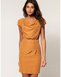 ASOS Collection - Brown Asos Cowl Neck Pencil Dress with Belt - Lyst
