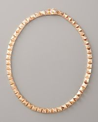 Eddie Borgo | Metallic Pave Pyramid Choker Necklace, Rose Gold | Lyst