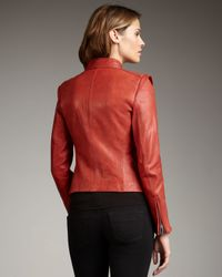 Neiman Marcus | Red Leather Zip Jacket | Lyst