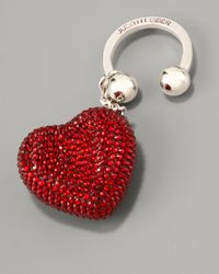 Judith Leiber | Metallic Heart N Soul Key Ring, Red | Lyst