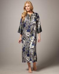 Oscar de la Renta   Blue Twilight Garden Silk Nightgown   Lyst