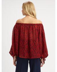 Saint Laurent | Red Off-the-shoulder Silk Blouse | Lyst