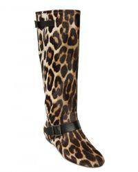 Blumarine - Multicolor Leopard Printed Pony Flat Boots - Lyst