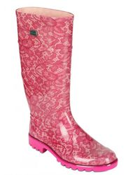 Dolce & Gabbana - Pink Rubber Lace Boots - Lyst