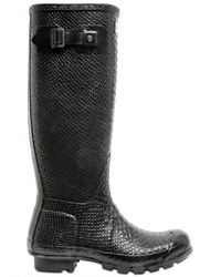 HUNTER | Black Snake Print Boots | Lyst