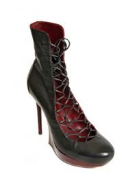 Nina Ricci | Black 120mm Calfskin Lace Up Boots | Lyst