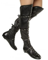 Valentino | Black Studded Stretch Nappa Boots | Lyst