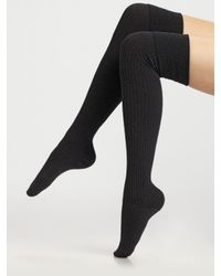 Falke | Gray Ribbed Over-the-knee Socks | Lyst