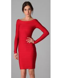 Hervé Léger | Red Signature Essential Long Sleeve Cocktail Dress | Lyst