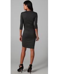 Jarbo - Gray Ruched Long Sleeve Dress - Lyst