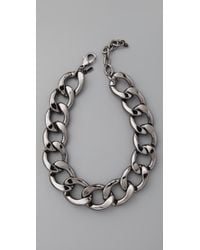 Kenneth Jay Lane - Metallic Polished Lobster Claw Necklace - Lyst