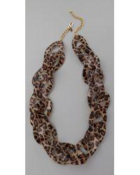 Kenneth Jay Lane - Multicolor Leopard Print Link Necklace - Lyst