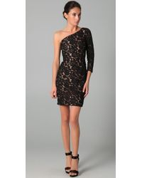 Notte by Marchesa | Black One Shoulder Lace Dress | Lyst