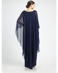 Notte by Marchesa | Blue Silk Caftan Gown | Lyst