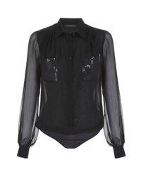 Patrizia Pepe | Black Blouse Bodysuit | Lyst